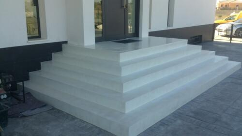 Exterior stairs microcement white